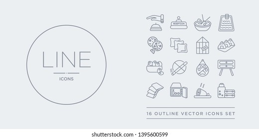 16 line vector icons set such as luggage, meat, minibar, napkins, nightstand contains no pets, no smoking, olives, onigiri. luggage, meat, minibar from hotel outline icons. thin, stroke elements