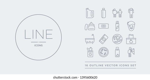 16 line vector icons set such as ablution, air freshener, antibacterial, antiseptic, baby wipe contains bacteria, bandage, bathroom, beardy. ablution, air freshener, antibacterial from hygiene