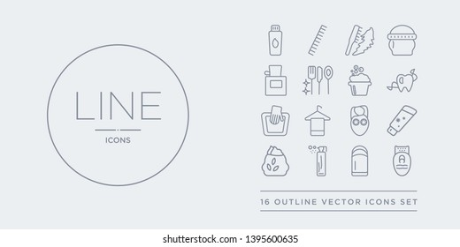 16 line vector icons set such as epilator, epliator, face cleanser, face cream, face cream contains mask, towel, washer, flossing. epilator, epliator, cleanser from hygiene outline icons. thin,