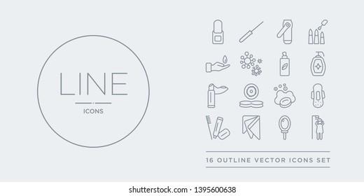 16 line vector icons set such as hair washing, hand mirror, handkerchief, hygiene kit, hygienic pad contains lather, lens, lip balm, liquid soap. hair washing, hand mirror, handkerchief from hygiene