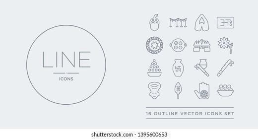 16 line vector icons set such as kanji vadas, karma, kartikeya, kathakali, krishna contains krishna janmashtami, kumbh kalash, laddu, lakshmi. kanji vadas, karma, kartikeya from india outline icons.