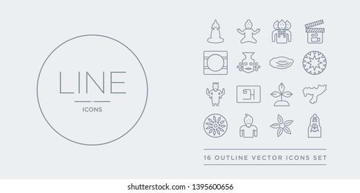 16 line vector icons set such as alamelu, anise, ardhanareeswara, ashoka, assam contains bael tree, bengali language, bhagavan, bihu. alamelu, anise, ardhanareeswara from india outline icons. thin,