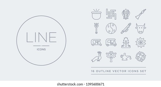16 line vector icons set such as odisha, oil lamp, parvati, peacock, rangoli contains ratha-yatra, ricksaw, rickshaw, sac cow. odisha, oil lamp, parvati from india outline icons. thin, stroke