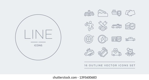 16 line vector icons set such as medical insurance, moving insurance, overturned car, overturned vehicle, parking crash contains payment protection, problem electric, puncture in a wheel, real