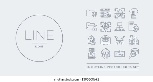 16 line vector icons set such as data search, data share, data streaming, transfer, unclocked contains ddos, domain, email security, encrypted. search, share, streaming from internet security and