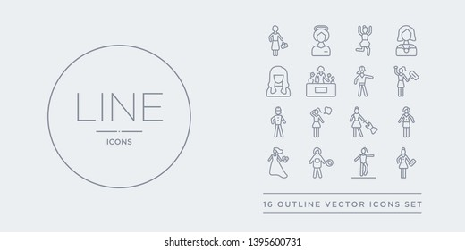 16 line vector icons set such as accounter woman, acrobat woman, astronaut woman, bride with bouquet, bussines lady contains buying dress, dreamy girl, engineer feminist accounter acrobat astronaut