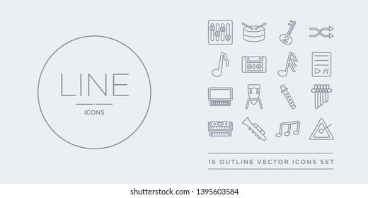 16 line vector icons set such as music triangle, musical note, oboe, organ, panpipe contains pennywhistle, percussion, piano, playlist. music triangle, musical note, oboe from music outline icons.