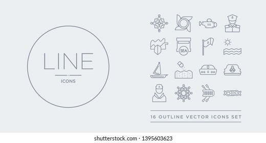 16 line vector icons set such as rope tied, rubber raft, rudder, sailor, sailor cap contains sailor hat, salt water, scow, sea. rope tied, rubber raft, rudder from nautical outline icons. thin,