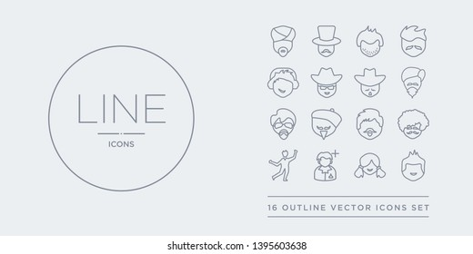 16 line vector icons set such as little boy face, little girl face, male user manager face, man dancing, man curly hair and moustache contains man with beard, with beret and goatee, with glasses and
