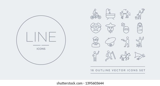 16 line vector icons set such as man flying, man horseriding, man in hike, pointing, riding skateboarding contains shooting, with beret, manager face, newborn. flying, horseriding, in hike from