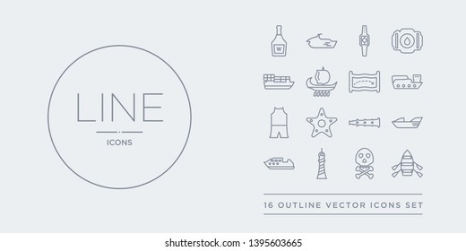 16 line vector icons set such as skiff, skull and bones, smeaton's tower?, speed boat, speedboat contains spyglass, starfish with dots, swimsuit, tanker ship. skiff, skull and bones, smeaton's