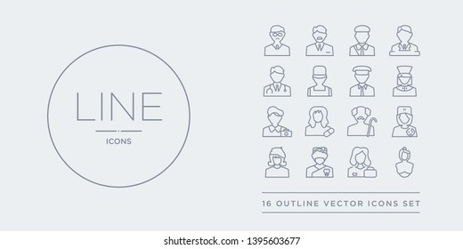 16 line vector icons set such as obstetrician and gynecologist, office worker, orthodontist, painter, pediatrician contains pensioner, pharmacist, photographer, physician assistant. obstetrician and
