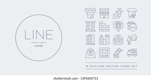 16 line vector icons set such as moving truck, neighborhood, plans, real estate, realtor contains rent,  , skyscrapper, sold. moving truck, neighborhood, plans from real estate outline icons. thin,