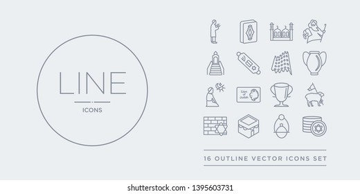 16 line vector icons set such as jewish coins, jewish incense, kaaba, kotel, lamb of god contains laver of washing, lion of  judah, maghrib prayer, manna jar. jewish coins, incense, kaaba from