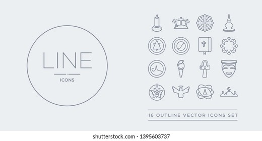 16 line vector icons set such as abrahamic, agnosticism, angel, anglican, animism contains ankh, asceticism, atheism, bahai. abrahamic, agnosticism, angel from religion outline icons. thin, stroke