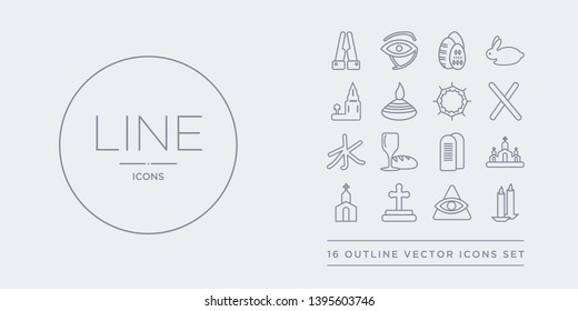 16 line vector icons set such as candles, cao dai, christian, christianity, church contains commandments, communion, confucianism, cross. candles, cao dai, christian from religion outline icons.