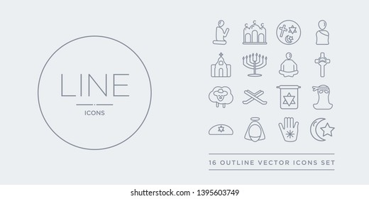 16 line vector icons set such as islam, jainism, jesus, jewish, jihad contains judaism, koran, lamb, last supper. islam, jainism, jesus from religion outline icons. thin, stroke elements