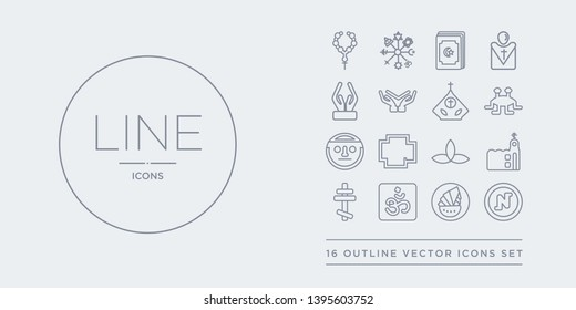 16 line vector icons set such as nihilism, noah ark, om, orthodox, orthodox contains pagan, pagan, paganism, pastafarianism. nihilism, noah ark, om from religion outline icons. thin, stroke elements