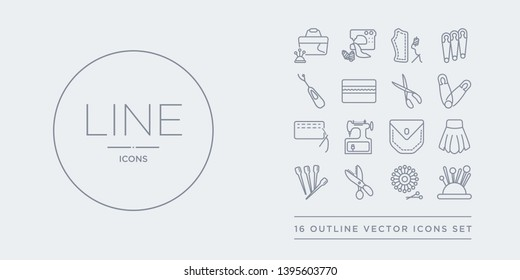 16 line vector icons set such as pin holder, pin sew, pinking shears, pins, pleat contains pocket, rotary, running stitch, safety pin. holder, sew, pinking shears from sew outline icons. thin,