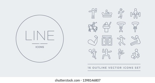 16 line vector icons set such as kickball, kickboxing, kung fu, lacrosse, long jump contains marathon, match, mixed martial arts, muscle. kickball, kickboxing, kung fu from sport outline icons.