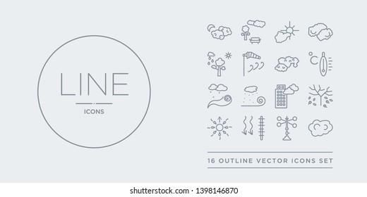 16 line vector icons set such as altostratus, anemometer, atmospheric pressure, aurora, autumn contains blanket of fog, blizzard, breeze, celsius. altostratus, anemometer, atmospheric pressure from