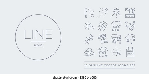 16 line vector icons set such as rainy day, sand storms, sleet, smog, snow cloud contains snow storms, spring, sprinkle weather, starry night. rainy day, sand storms, sleet from weather outline