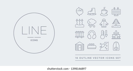 16 line vector icons set such as anorak vest, avalanche, bobsled, chalet, chapel contains cold, earmuffs, electric heater, fir. anorak vest, avalanche, bobsled from winter outline icons. thin,