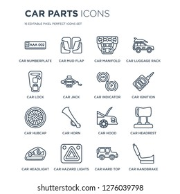 16 linear Car parts icons such as car numberplate, mud flap, hazard lights, headlight, headrest modern with thin stroke, vector illustration, eps10, trendy line icon set.