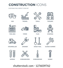 16 linear Construction icons such as Vise, Trowel, Screwdrivers, Screws, Sledge hammer, Screw, Tool box modern with thin stroke, vector illustration, eps10, trendy line icon set.