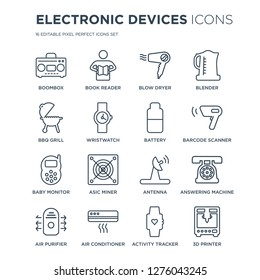 16 linear Electronic devices icons such as Boombox, book reader, Air conditioner, purifier, answering machine modern with thin stroke, vector illustration, eps10, trendy line icon set.