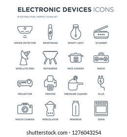 16 linear Electronic devices icons such as smoke detector, Smartband, percolator, Photo camera, Plug, Oven modern with thin stroke, vector illustration, eps10, trendy line icon set.