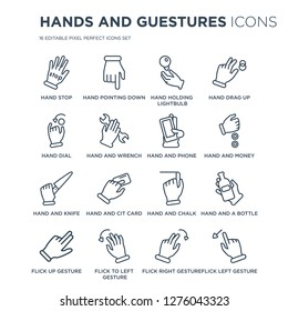 16 linear Hands and guestures icons such as hand Stop, Pointing down, Flick to Left gesture, Up gesture modern with thin stroke, vector illustration, eps10, trendy line icon set.
