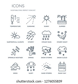 16 linear  icons such as Temperature, Sunshine, Sleet, Smog, Snow Cloud, Rainy Day, subtropical climate modern with thin stroke, vector illustration, eps10, trendy line icon set.