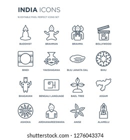 16 linear india icons such as buddhist, brahman, Ardhanareeswara, Ashoka, assam, Alamelu, Bindi modern with thin stroke, vector illustration, eps10, trendy line icon set.