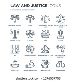 16 linear law and justice icons such as justice, Law, inheritance law, Innocent, Intellectual property modern with thin stroke, vector illustration, eps10, trendy line icon set.