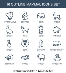 16 mammal icons. Trendy mammal icons white background. Included outline icons such as hippopotamus, squirrel, bear, rabbit, wolf, panther, caveman. mammal icon for web and mobile.