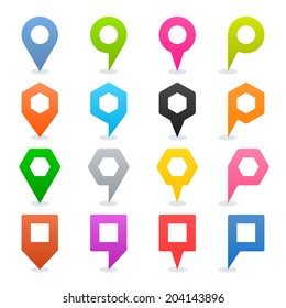 16 map pins sign location icon with oval shadow in flat style. Set 02. Blue green pink orange gray black yellow brown violet colored shapes on white background. Vector illustration element in 8 eps