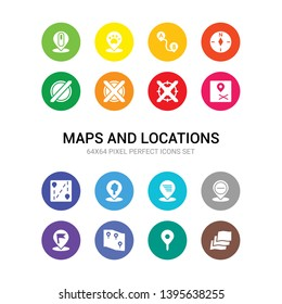 16 maps and locations vector icons set included map layer, map pin, map transports, marked place, minus location, motion, national park pin, navigation trajectory, nearby, no gps, no stopping icons