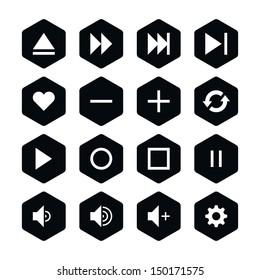 16 media player control button ui icon set 06. White pictogram on black hexagon button. Solid plain monochrome flat tile. Simple contemporary modern style. Web design element vector illustration 8 eps