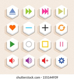 16 media sign icon set 06 (color on white). Hexagon button web internet shape with shadow on beige paper background with plastic texture. Simple flat style. Vector illustration design element 10 eps