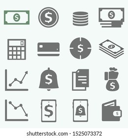 16 Money set icon, dollar, coin, credit card, and smartphone.