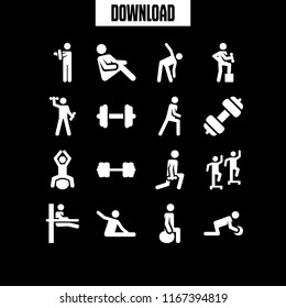 16 muscles vector icon set with dumbbell, fitness, exercise and stretching icons for mobile and web