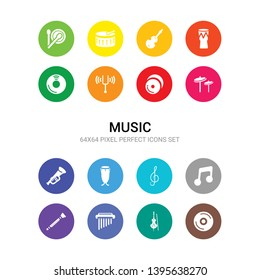 16 music vector icons set included cd, cello, chimes, clarinet, clave, clef, conga, cornet, cymbal, cymbals, diapason icons