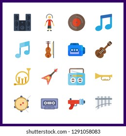 16 musical icon. Vector illustration musical set. tape recorder and trumpet icons for musical works