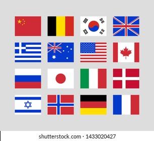 16 national flags of the world. USA. China. Canada. Russia. Australia. France. Italy. Israel. Norway. Germany. Japan. Belgium. Denmark. UK. Greece. Korea. Vector illustration