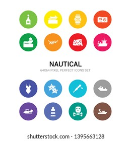16 nautical vector icons set included skiff, skull and bones, smeaton's tower, speed boat, speedboat, spyglass, starfish with dots, swimsuit, tanker ship, treasure map, trireme icons