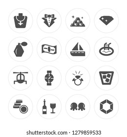 16 Necklace, Suit, Wine, Coin, Cocktail, Diamond, Fragance, Helicopter, Yatch modern icons on round shapes, vector illustration, eps10, trendy icon set.