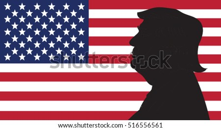 16 OCT, 2016: Donald Trump portrait on US flag background.
