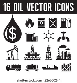 16 oil industry vector icons for infographic, business presentation, booklet and different design project. Production, transportation and refining of fuell - graphic icons set.