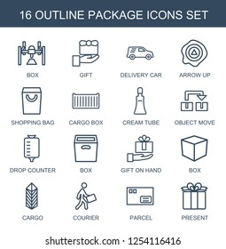 16 package icons. Trendy package icons white background. Included outline icons such as box, gift, delivery car, arrow up, shopping bag, cargo box. package icon for web and mobile.